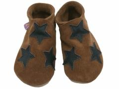soft leather baby shoes stars in brown choc