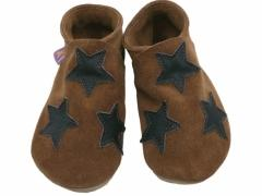 Soft leather baby shoes, Stars in chocolate on brown suede.