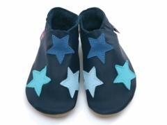 Soft leather baby shoes stars in navy and colours