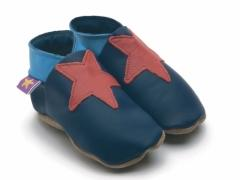 Soft leather baby shoes Stella red stars on navy shoes