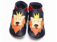 soft leather baby shoes, the king of the jungle, crowned lions face on navy shoes.