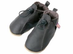 Soft leather baby shoes, Toggle adjustable elastic shoes in chocolate