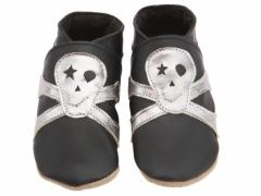 soft leather baby shoes Tommy skull in black metal