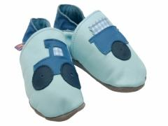 Soft leather baby shoes tractor design on baby blue