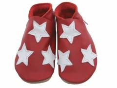 Soft leather baby shoes, triple stats design in white on red shoes.
