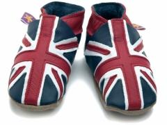 soft leather baby shoes, Union Jack, Great Britain flag design in navy / red / white