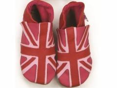 soft leather baby shoes union jack in fuchsia pink