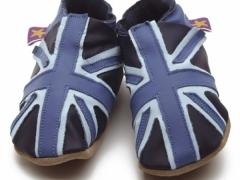 soft leather baby shoes union jack navy blue come on teamGB