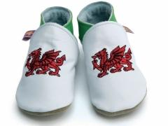 soft leather baby shoes welsh dragon flag