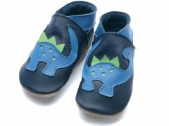 soft leather baby shoes with dinosaur design.