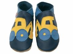 soft leather baby shoes, yellow jcb digger design on navy shoes.
