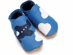 Soft leather kids shoes, aeroplane and clouds on blue shoes.
