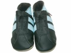 Soft leather kids shoes, Footy trainer style shoes in baby blue on chocolate.