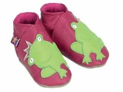 soft leather kids shoes frog prince in fuchsia