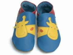 soft leather kids shoes in red with bright yellow giraffe design.