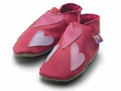 soft leather kids shoes, Queenie hearts in pink, lilac and baby pink hearts on fuchsia shoes.