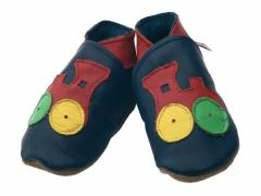 Soft leather kids shoes, red choo steam train on navy shoes