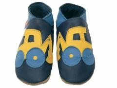 soft leather kids shoes, yellow jcb digger design on navy shoes.