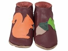 squirrel and acorn baby shoes in burgundy