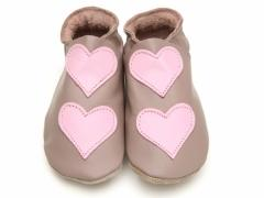 starchild baby shoes lovehearts in taupe and baby pink