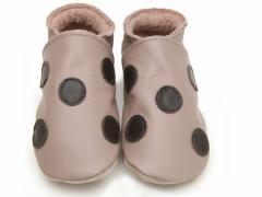 starchild baby shoes polka dot taupe and choc
