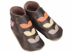 Starchild soft leather baby shoes, Autumn leaves in orange, caramel and taupe on chocolate shoes.