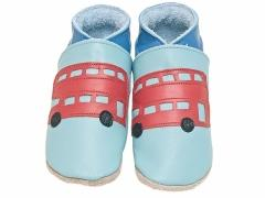Starchild soft leather baby shoes Bus in aqua