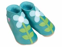 Starchild soft leather baby shoes, Carmina flowers in baby blue and white on jade shoes.