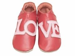 Starchild soft leather baby shoes LOVE in red