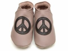 Starchild soft leather baby shoes, Peacebaby in chocolate and taupe leather