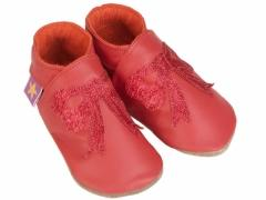 Starchild soft leather baby shoes, red glitter bows on red shoes, its party time.