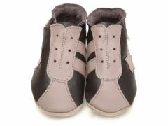 Starchild soft leather baby shoes, Retro trainers in chocolate and taupe leather