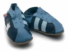 Starchild soft leather baby shoes, Retro trainers in navy and blue.