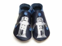 starchild soft leather baby shoes robot in silver and navy