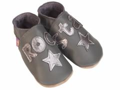 Starchild soft leather baby shoes, Rock Star legend and stars in metal on grey shoes.