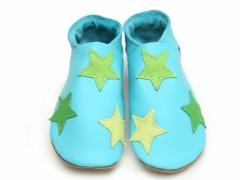 Starchild soft leather baby shoes. Stars in lime lemon and green on turquoise leather shoes.