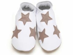 starchild soft leather baby shoes, stars white and taupe.