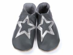 Stardom double star in metal  on grey soft leather baby shoes