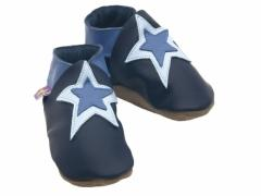Stardom double star in navy blue and baby blue on navy soft leather baby shoes