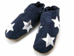 starman navy leather slippers