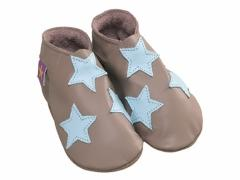stars in taupe and baby blue baby shoes