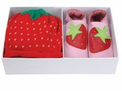 Strawberry baby pink soft leather baby shoes with matching cotton Red Strawberry hat in a luxury gift box