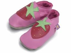 strawberry soft leather baby shoes