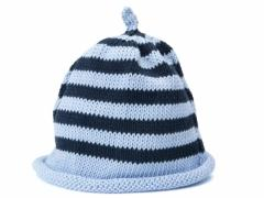 stripey baby blue and navy hat