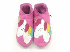 unicorn on pink leather baby shoes