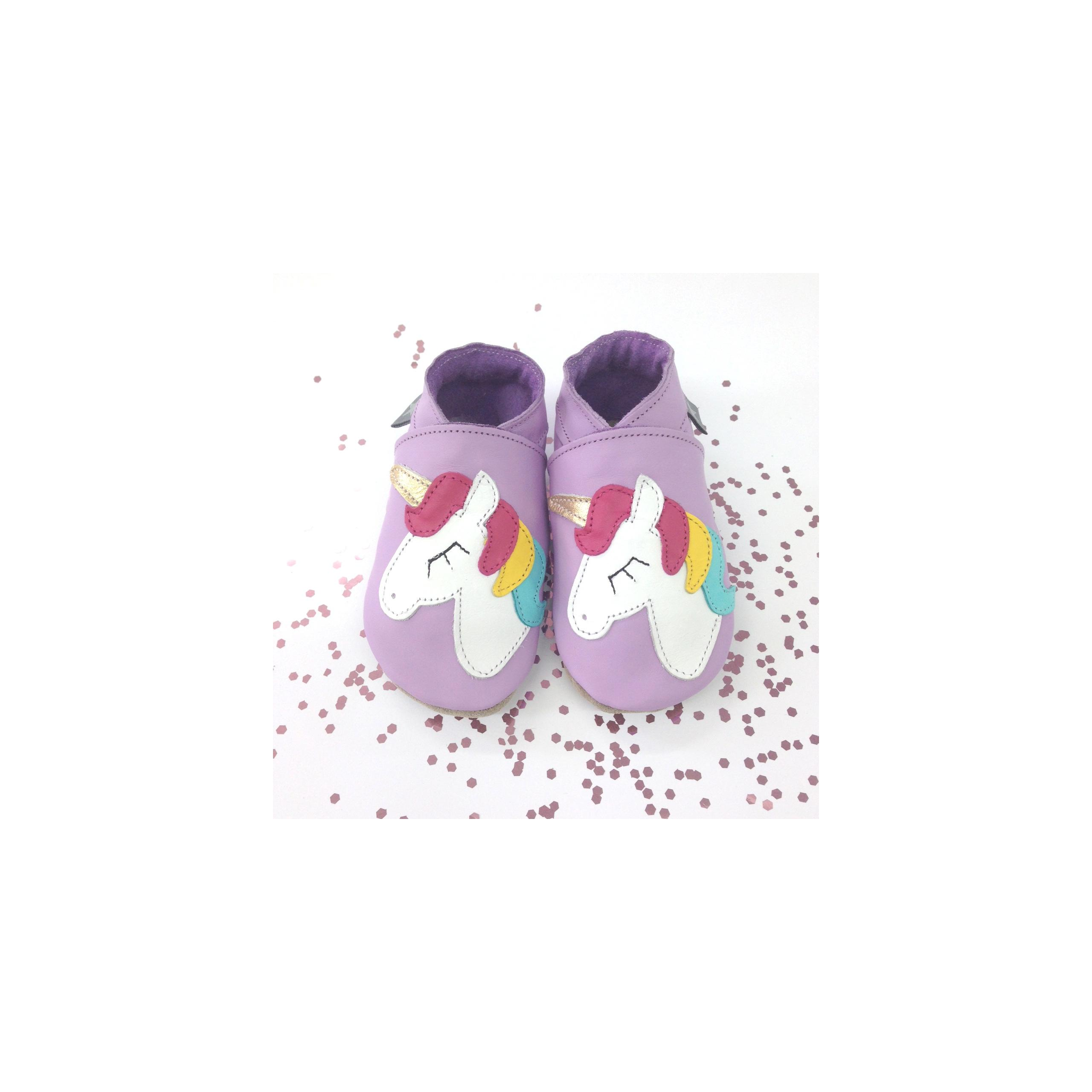 Unicorn Lilac Starchild Soft Leather Baby Girls Shoes With