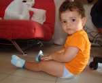 Guilermo from Spain wearing Aeroplane in baby blue shoes