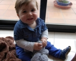 Thomas playing in his navy Bear shoes